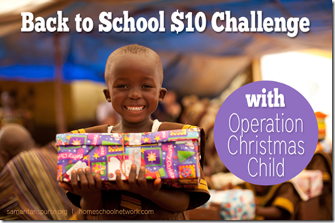 Operation Chirstmas Child $10 Back to School Challenge
